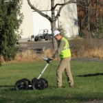 Ground Penetrating Radar (GPR) being used by a technician in Long Island, NY